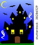 Illustration of a scary haunted house at night, with a pumpkin, phantoms, a black cat and bats. - stock photo