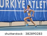 Small photo of ISTANBUL, TURKEY - FEBRUARY 27, 2016: Athlete Adelina Pastor running in Balkan Athletics Indoor Championships
