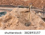 pile of sand and shovel for... | Shutterstock . vector #382893157