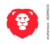 lion head flat vector logo.... | Shutterstock .eps vector #382898233