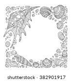 seashell border frame  ocean... | Shutterstock .eps vector #382901917