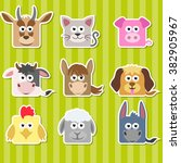 set of cute cartoon square home ... | Shutterstock .eps vector #382905967