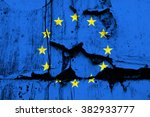 Small photo of EU flag on old torn and tattered paper as metaphoric symbol of European Union crisis because of disintegration, breakup and its problems (Euro, Grexit, Brexit, Visegrad four, Schengen area, etc)