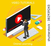 video tutor man stream training ... | Shutterstock .eps vector #382939243