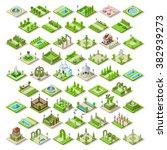isometric buildings city park...   Shutterstock .eps vector #382939273