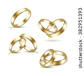 vector set of gold wedding... | Shutterstock .eps vector #382951393