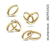 vector set of gold wedding... | Shutterstock .eps vector #382951423