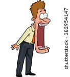 Cartoon Shocked Man With His...