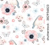 seamless pattern with birds... | Shutterstock .eps vector #382956823