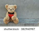bear hold red heart. | Shutterstock . vector #382960987
