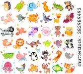 illustration of cute animals... | Shutterstock . vector #382989493