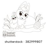 easter bunny and chicken little.... | Shutterstock . vector #382999807