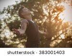 happy man enjoying nature | Shutterstock . vector #383001403