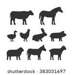 black silhouettes farm animals... | Shutterstock .eps vector #383031697