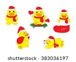 cute baby duck christmas... | Shutterstock .eps vector #383036197