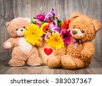 beautiful flowers in the box... | Shutterstock . vector #383037367