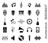 set of vector music icons for... | Shutterstock .eps vector #383038657