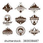 set of camping  outdoor ... | Shutterstock .eps vector #383038687