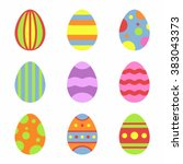 easter eggs icons in flat style ... | Shutterstock .eps vector #383043373