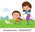 mother and daughter jogging... | Shutterstock .eps vector #383045257