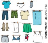 vector set of drying clothes | Shutterstock .eps vector #383048743