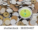 Small photo of Japanese coins arranged against the clock.