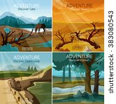 landscapes travel 4 flat icons... | Shutterstock . vector #383080543