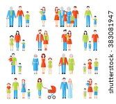 family flat icons set  | Shutterstock . vector #383081947