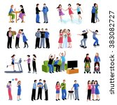 friends buddies activities flat ... | Shutterstock . vector #383082727