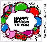 birthday card with balloons ... | Shutterstock .eps vector #383084143
