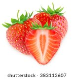 isolated strawberries. two and... | Shutterstock . vector #383112607