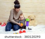 loving young mom and her cute... | Shutterstock . vector #383120293