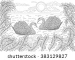 hand drawn birds   two swans... | Shutterstock .eps vector #383129827