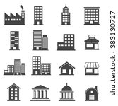 building icons . vector... | Shutterstock .eps vector #383130727