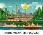 illustration of mega city.... | Shutterstock .eps vector #383152933