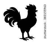 stylized cock silhouette vector ... | Shutterstock .eps vector #383155963