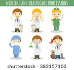 vector set of medicine and... | Shutterstock .eps vector #383157103