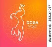 logo for dog yoga studio. dog... | Shutterstock .eps vector #383164057