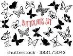set butterflies pictograms ... | Shutterstock .eps vector #383175043