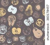 fruit imprint seamless pattern. | Shutterstock .eps vector #383178457