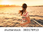 Woman On A Yacht Enjoying The...