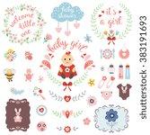 a set of cute items for newborn ... | Shutterstock .eps vector #383191693