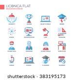 set of vector education thin... | Shutterstock .eps vector #383195173