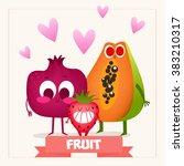 a set of cute fruits.... | Shutterstock .eps vector #383210317