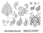 set of decorative paisley... | Shutterstock .eps vector #383215507