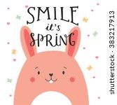 cute illustration of rabbit... | Shutterstock .eps vector #383217913