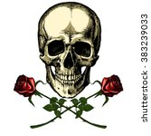 A Human Skull With Two Roses O...