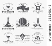 set of black wine labels and... | Shutterstock .eps vector #383240143
