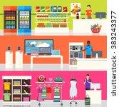 people in supermarket interior... | Shutterstock . vector #383243377