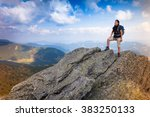 woman traveler with backpack... | Shutterstock . vector #383250133